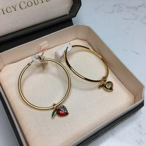 Juicy Couture gold apple hoop earrings